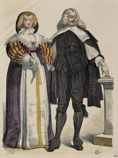 Fashion Plate Depicting Middle Class Couple. Print, around 1700--Giclee Print