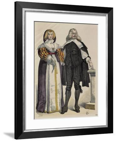 Fashion Plate Depicting Middle Class Couple. Print, around 1700--Framed Giclee Print
