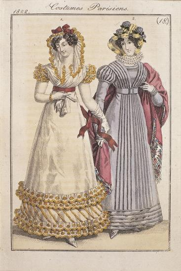 Fashion Plate Depicting Parisiennes During the Restauration Period--Giclee Print