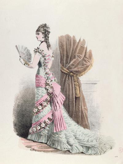 Fashion Plate of a Woman in Evening Dress and with a Fan, 1877--Giclee Print