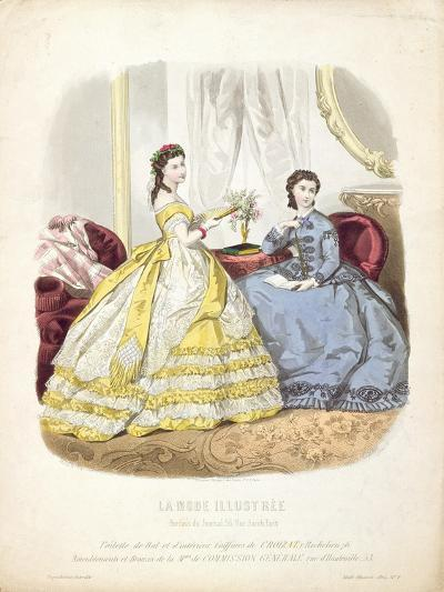 Fashion Plate Showing Ballgowns, Illustration from 'La Mode Illustree', 1864--Giclee Print