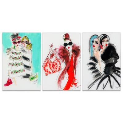 Fashion Show - 3 Piece Free Floating Tempered Glass Panel Graphic Wall Art