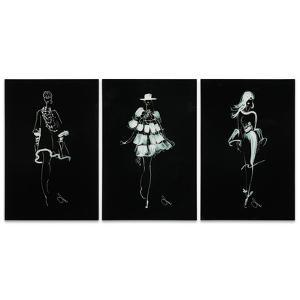 Fashion Walk - 3 Piece Free Floating Tempered Glass Panel Graphic Wall Art