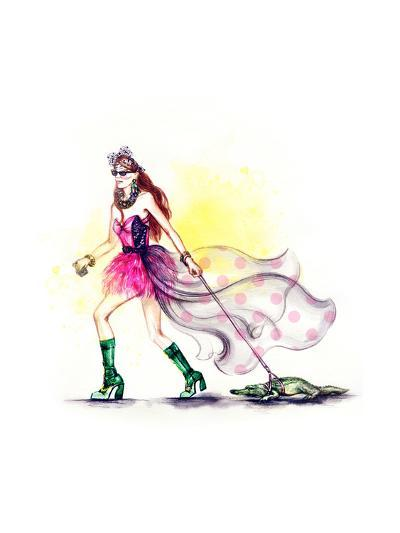 Fashion Woman and Crocodile-Anna Ismagilova-Art Print