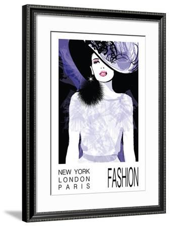Fashion Woman Model with a Black Hat - Vector Illustration-isaxar-Framed Art Print