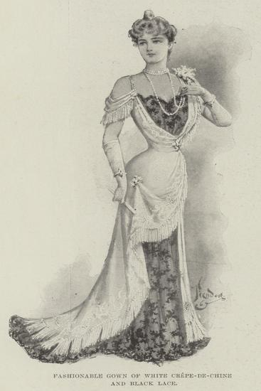 Fashionable Gown of White Crepe-De-Chine and Black Lace--Giclee Print