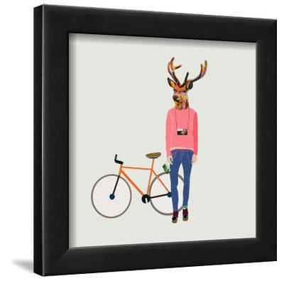 Fashionable Hipster Deer-run4it-Framed Art Print