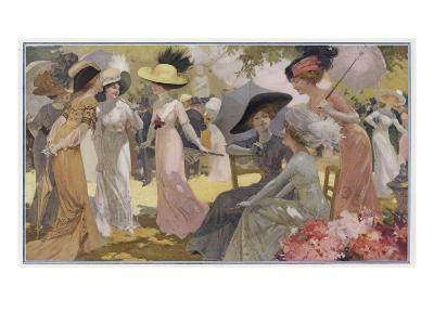 Fashionable Ladies at a Paris Garden Party--Giclee Print