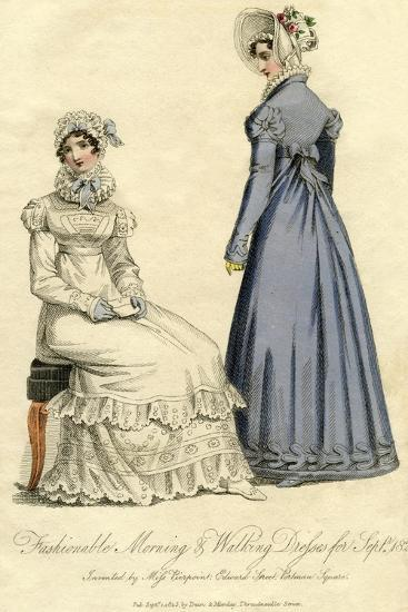 Fashionable Morning and Walking Dresses from September 1823--Giclee Print