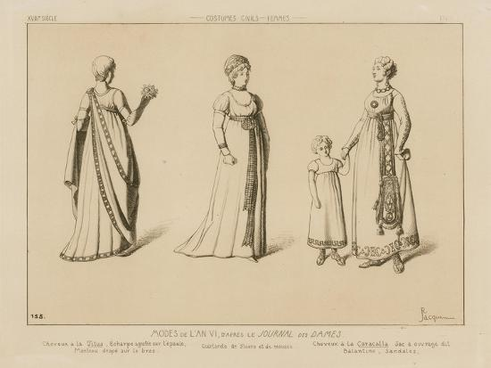 Fashions of the 6th Year, after Le Journal Des Dames-Raphael Jacquemin-Giclee Print