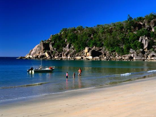 Father and Daughters Enjoying Waters of Radical Bay, Magnetic Island, Australia-Ross Barnett-Photographic Print