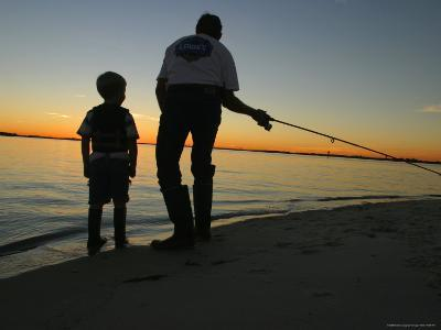 Father and Son Fishing at Dusk-Skip Brown-Photographic Print