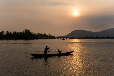 Father and Son Fishing on Kampong Bay River at Sunset-Ben Pipe-Photographic Print