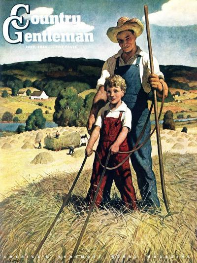 """""""Father and Son on Hay Wagon,"""" Country Gentleman Cover, June 1, 1944-Newell Convers Wyeth-Giclee Print"""