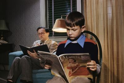 Father and Son Reading at Home-William P^ Gottlieb-Photographic Print