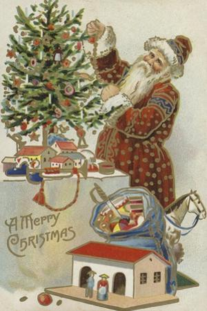 Father Christmas Decorating a Christmas Tree