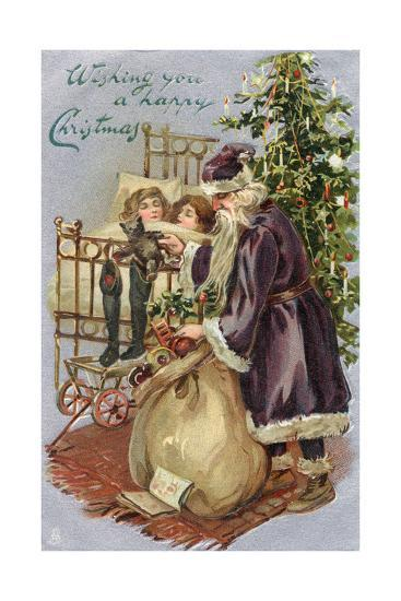Father Christmas Delivering Xmas Presents--Giclee Print