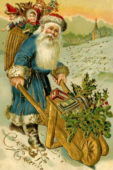 Father Christmas Dressed in Blue Carrying a Basket of Toys, Beatrice Litzinger Collection--Art Print