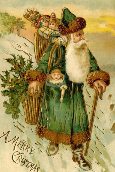 Father Christmas Dressed in Green Carrying Baskets of Toys and Holly, Beatrice Litzinger Collection--Art Print