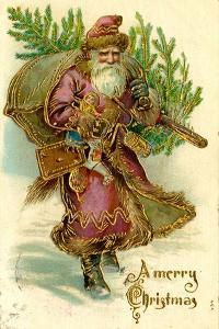 Father Christmas Dressed in Pink Carrying Pack of toys and Pine Tree, Beatrice Litzinger Collection