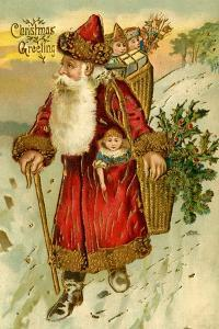 Father Christmas Dressed in Red Walking with a Gold Metallic Cane, Beatrice Litzinger Collection