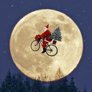 Father Christmas Flying on His Bicycle