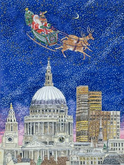 Father Christmas Flying over London-Catherine Bradbury-Giclee Print