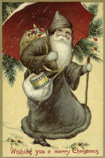 Father Christmas in a Fur Coat, Carrying Presents--Giclee Print