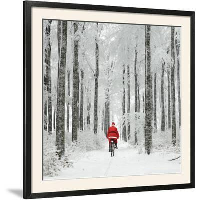 Father Christmas on a Bicycle in Snow--Framed Photographic Print
