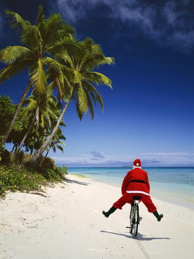 Father Christmas on Bicycle--Photographic Print