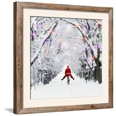 Father Christmas Riding Through Avenue in Winter--Framed Photographic Print
