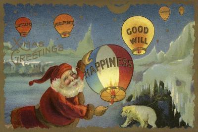 Father Christmas Setting Off Balloons--Giclee Print