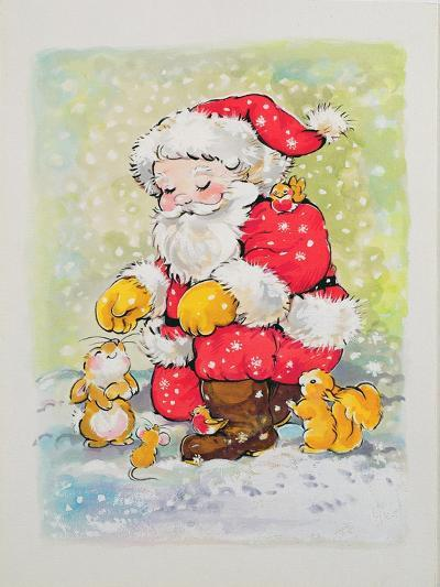 Father Christmas with Animals-Diane Matthes-Giclee Print