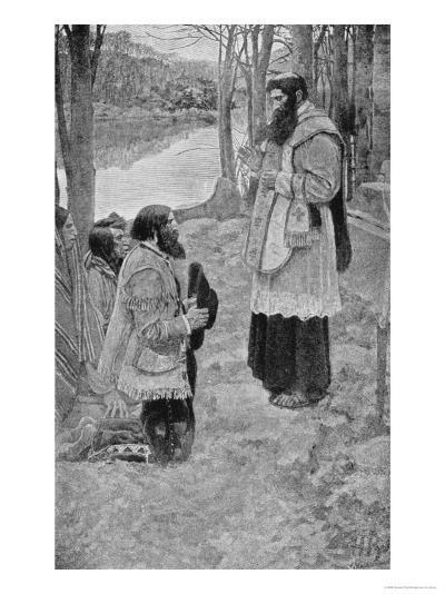 Father Hennepin Celebrating Mass, La Salle and the Discovery of the Great West Parkman-Howard Pyle-Giclee Print