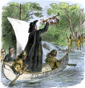 Father Jacques Marquette Holding a Peace Pipe to Greet Native Americans, c.1673