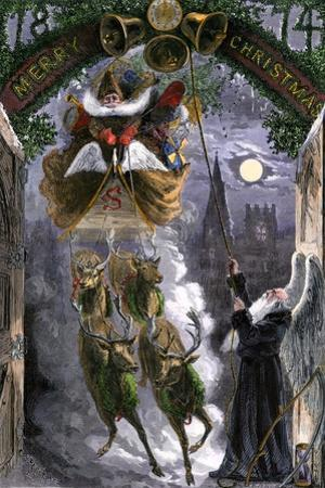 Father Time Ringing Bells for the Arrival of Santa Claus in His Sleigh, 1870s