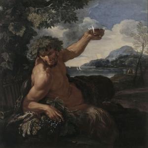 Faune au verre de vin