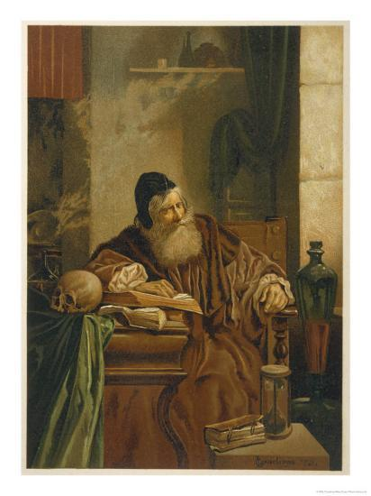 Faust at His Studies Muses on the Power of Magic- Comeleran-Giclee Print