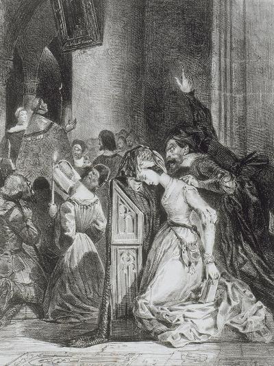 """""""Faust"""" de Goethe: Marguerite en prière à l'église avec Méphisto: """"Malheureuse...""""; 1828-Eugene Delacroix-Giclee Print"""