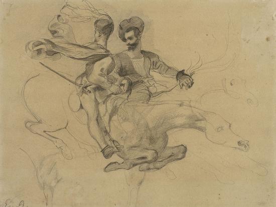 Faust et Méphisto galopant dans la nuit du Sabbat; étude pour la suite de 17 lithographies-Eugene Delacroix-Giclee Print