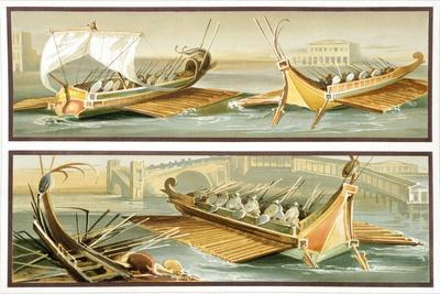 Reproduction of a Fresco Depicting Roman Ships, from the Houses and Monuments of Pompeii