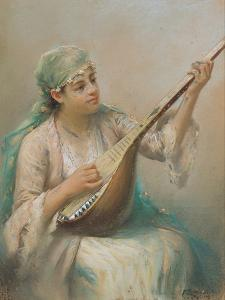 Woman Playing a Lute by Fausto Zonaro