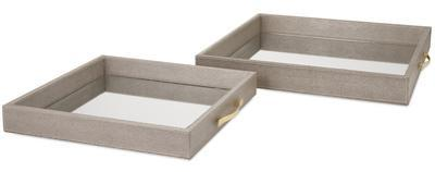 Faux Leather Mirrored Trays - Set Of 2