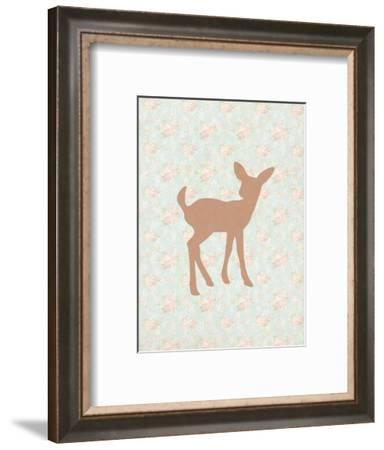 Fawn on Floral-Tara Moss-Framed Art Print