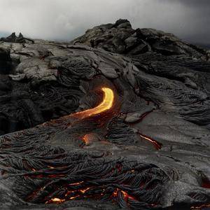 Lava Flowing From Volcano. by Fay Godwin