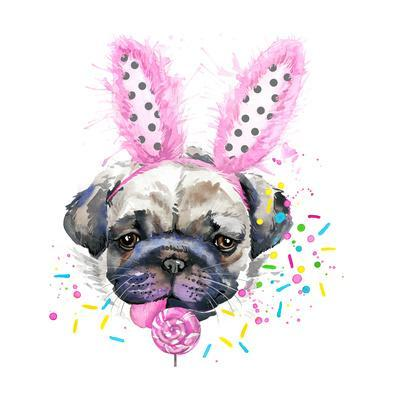 Cute Dog. Dog T-Shirt Graphics. Watercolor Dog Illustration Background. Watercolor Funny Dog for Fa