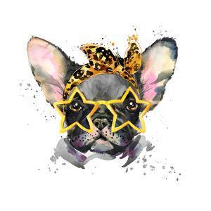 French Bulldog. Cute Puppy Dog. Watercolor Puppy Dog Illustration. French Bulldog Breed. Unusual Il by Fayankova Alena