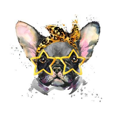 French Bulldog. Cute Puppy Dog. Watercolor Puppy Dog Illustration. French Bulldog Breed. Unusual Il