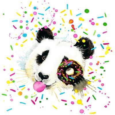 Funny Panda Bear Watercolor Illustration