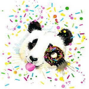 Funny Panda Bear Watercolor Illustration by Fayankova Alena